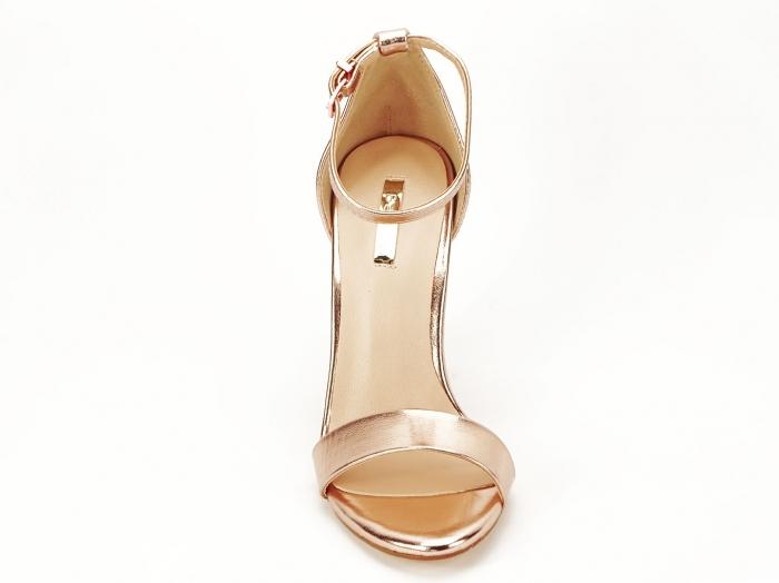 Sandale elegante champagne cu pietricele pe toc Afrodita 6