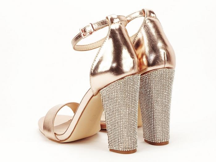 Sandale elegante champagne cu pietricele pe toc Afrodita 2