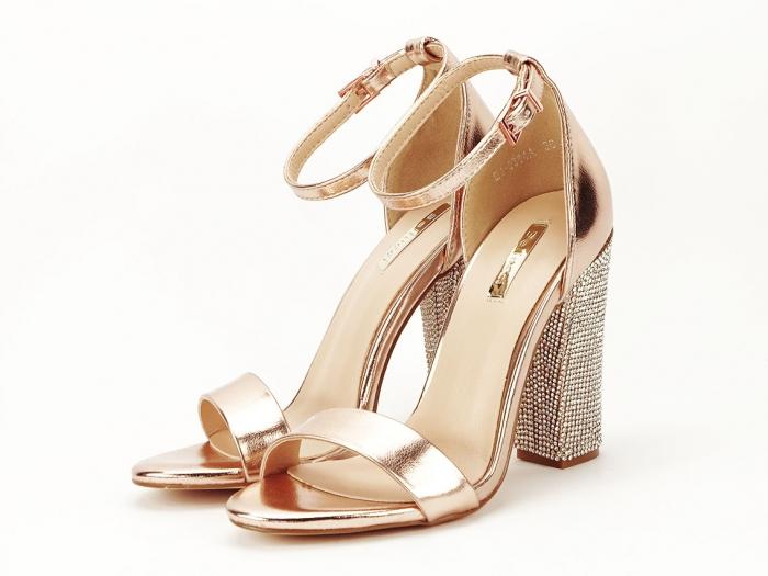 Sandale elegante champagne cu pietricele pe toc Afrodita 1