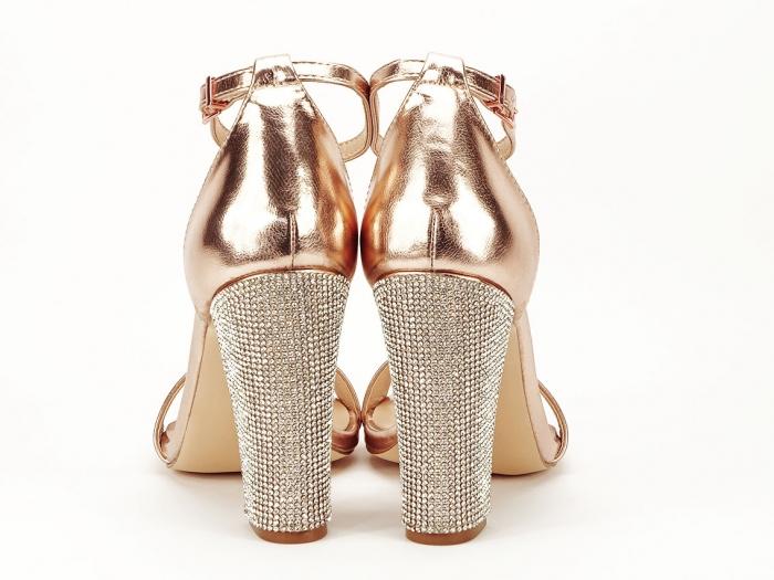 Sandale elegante champagne cu pietricele pe toc Afrodita 3