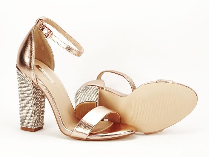 Sandale elegante champagne cu pietricele pe toc Afrodita 5