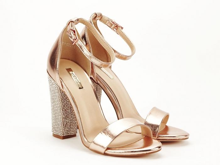 Sandale elegante champagne cu pietricele pe toc Afrodita 7