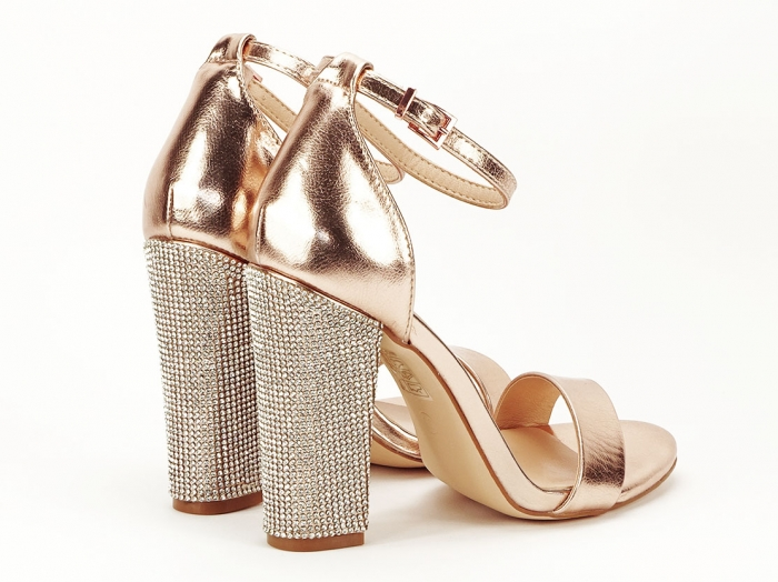 Sandale elegante champagne cu pietricele pe toc Afrodita 4