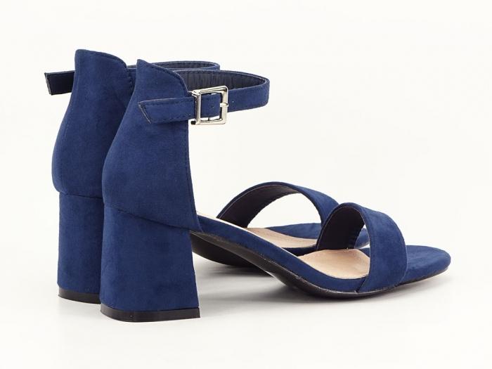 Sandale bleumarin din velur cu toc mic Marcela 5