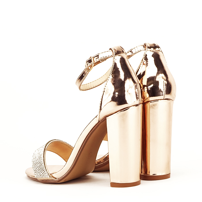 Sandale aurii cu toc gros Diana [3]