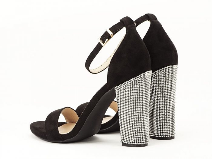Sandale negre elegante cu toc gros si pietre pe toc Rosa 2