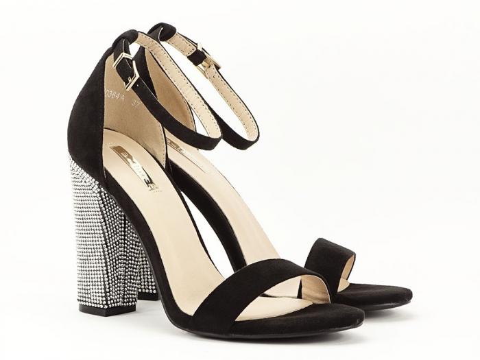 Sandale negre elegante cu toc gros si pietre pe toc Rosa 1