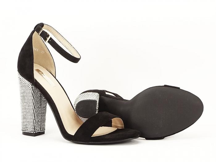 Sandale negre elegante cu toc gros si pietre pe toc Rosa 6