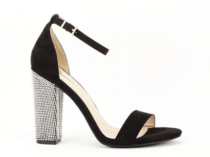 Sandale negre elegante cu toc gros si pietre pe toc Rosa 0