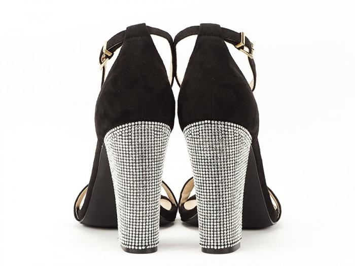 Sandale negre elegante cu toc gros si pietre pe toc Rosa 4