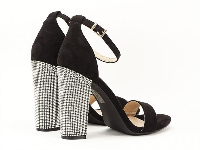 Sandale negre elegante cu toc gros si pietre pe toc Rosa 3