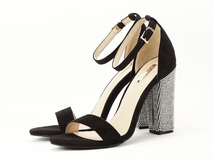 Sandale negre elegante cu toc gros si pietre pe toc Rosa 7