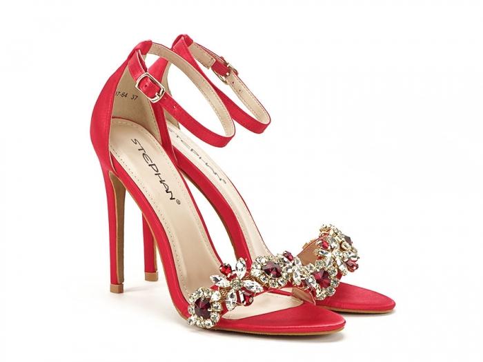 Sandale elegante rosii satinati Daiana 1
