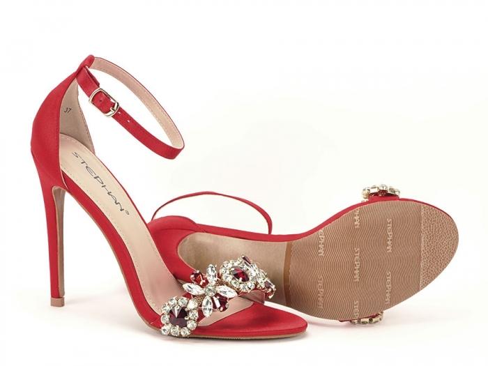 Sandale elegante rosii satinati Daiana 7