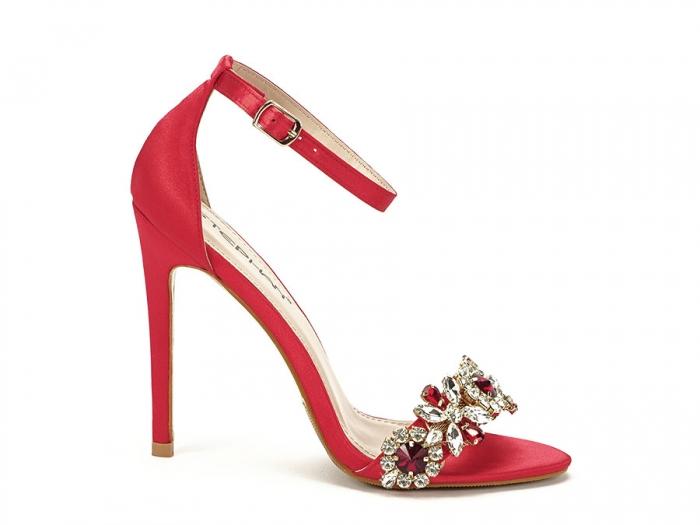 Sandale elegante rosii satinati Daiana 0