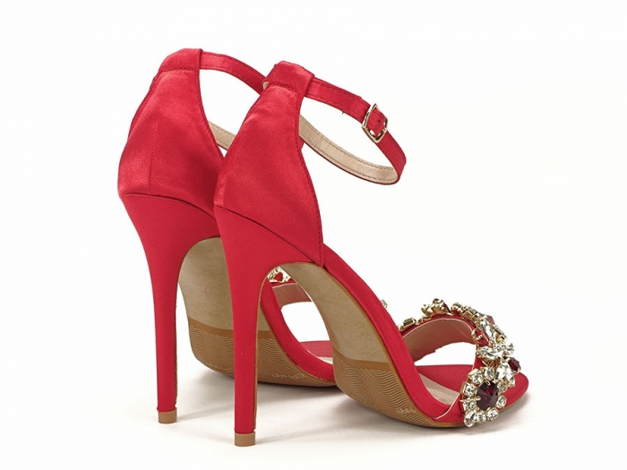 Sandale elegante rosii satinati Daiana 6
