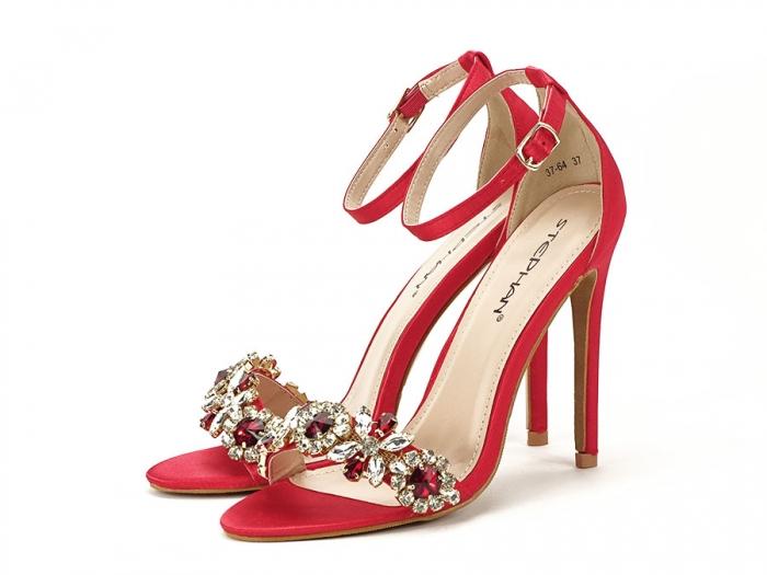 Sandale elegante rosii satinati Daiana 2