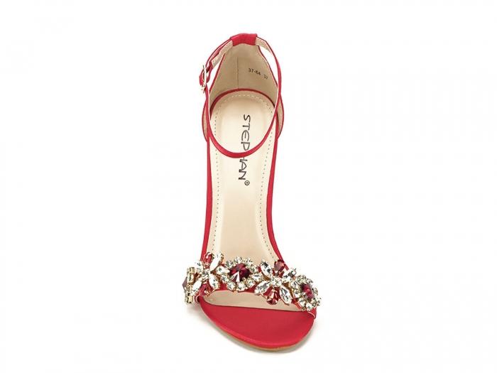 Sandale elegante rosii satinati Daiana 3