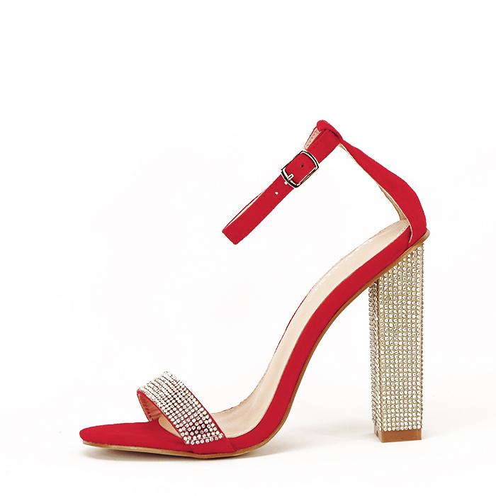 Sandale rosii cu pietricele Agness 0