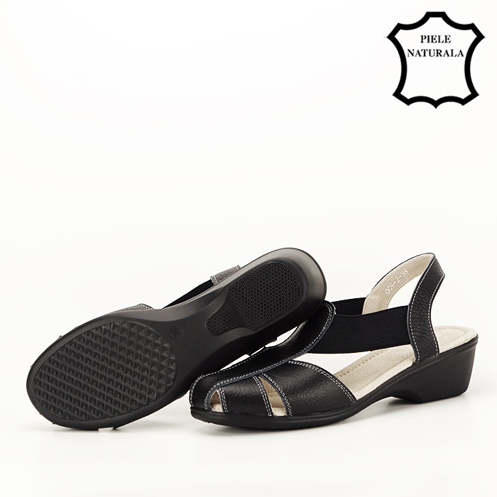 Sandale negre din piele naturala Codruta [6]