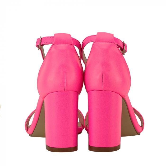 Sandale roz neon cu toc gros Ingrid [4]