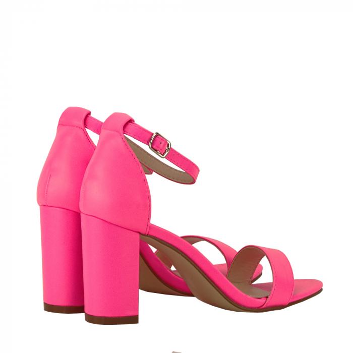 Sandale roz neon cu toc gros Ingrid 3