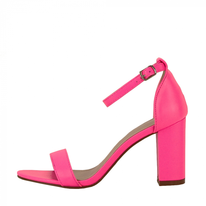 Sandale roz neon cu toc gros Ingrid [0]