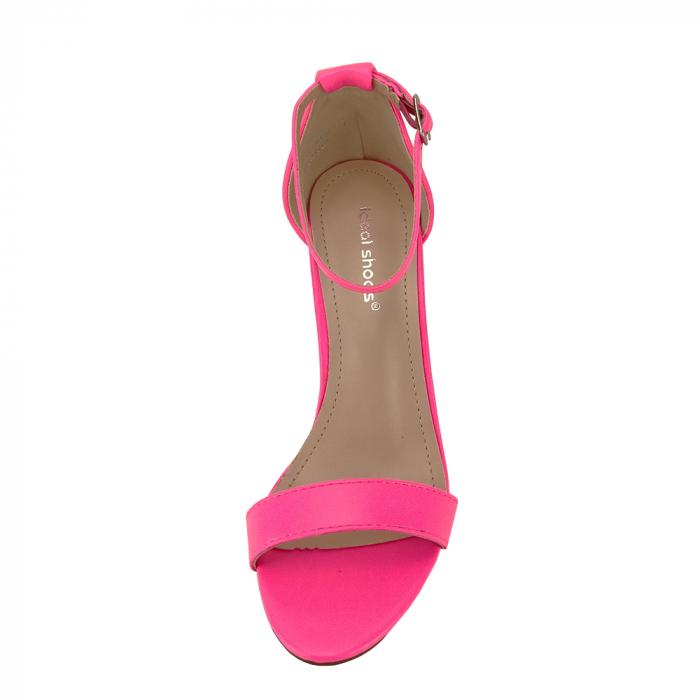 Sandale roz neon cu toc gros Ingrid 2