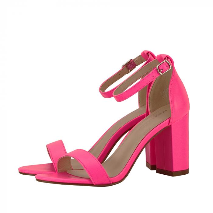 Sandale roz neon cu toc gros Ingrid 1