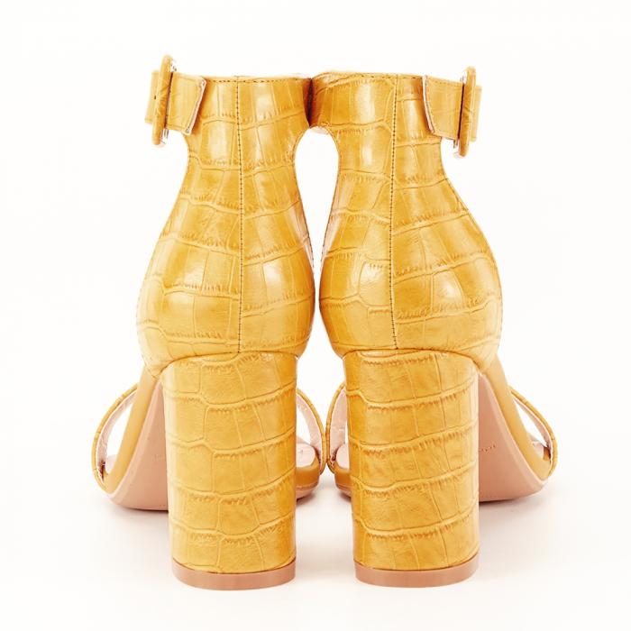 Sandale galben mustar cu imprimeu reptila Miruna [3]
