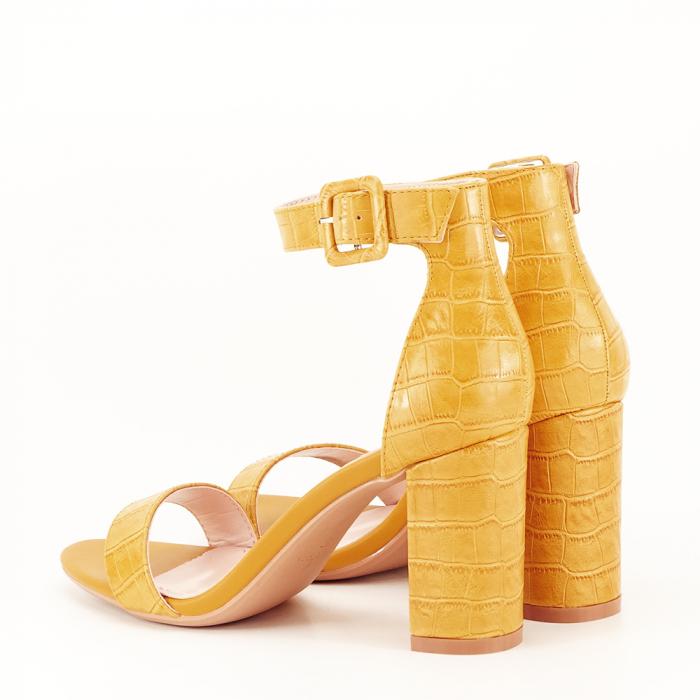 Sandale galben mustar cu imprimeu reptila Miruna [6]