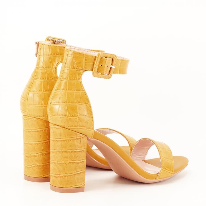 Sandale galben mustar cu imprimeu reptila Miruna [2]