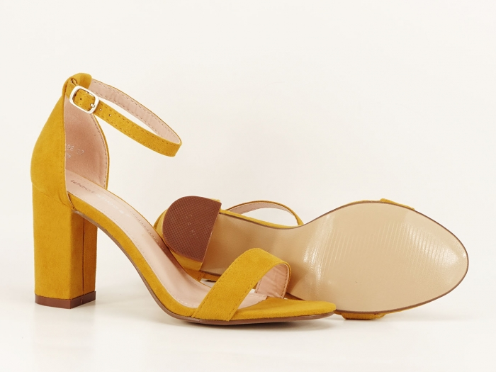 Sandale dama galbene cu toc gros Simply