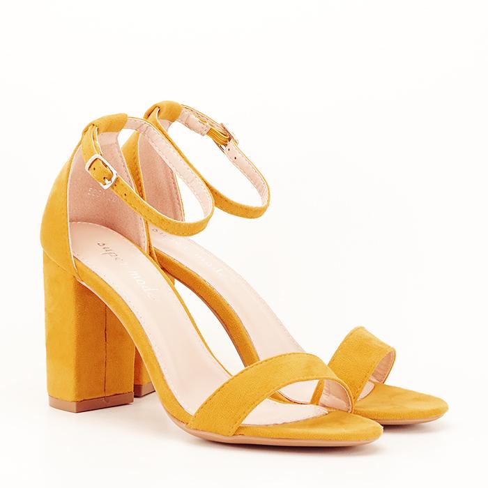Sandale bej cu toc din piele ecologica 7