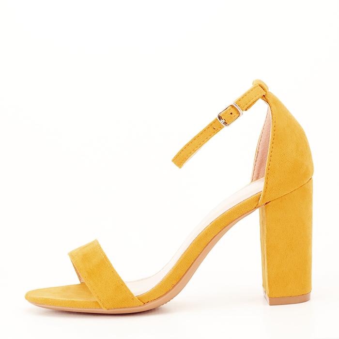 Sandale bej cu toc din piele ecologica 1