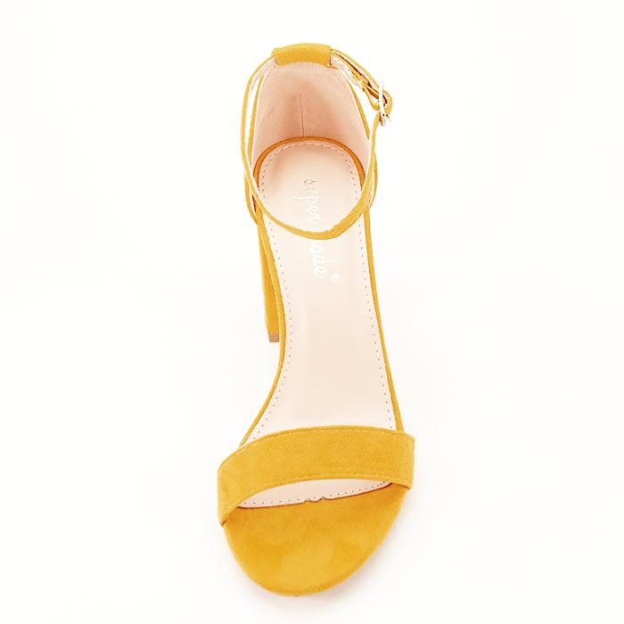 Sandale bej cu toc din piele ecologica 2