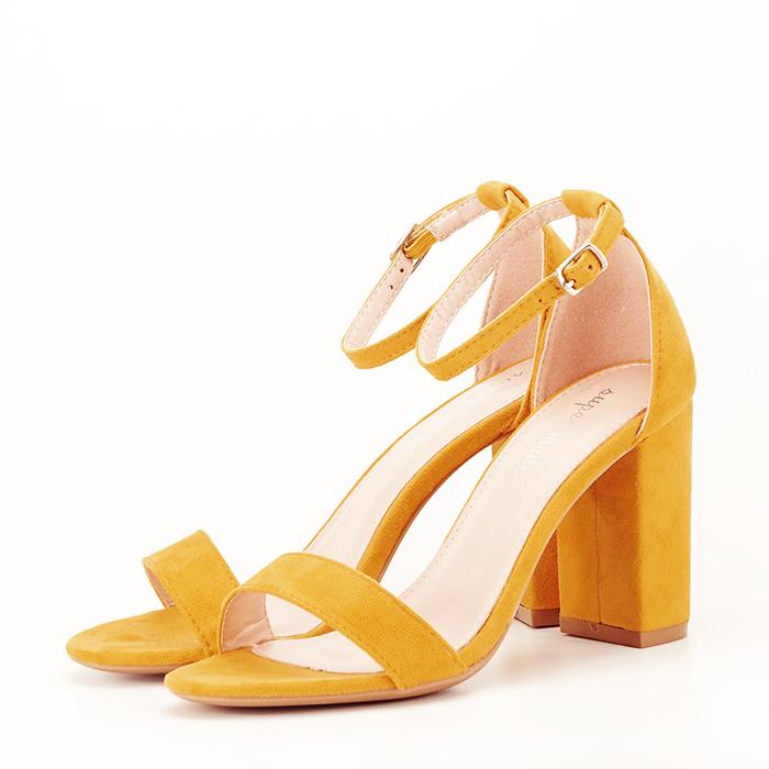 Sandale bej cu toc din piele ecologica 0