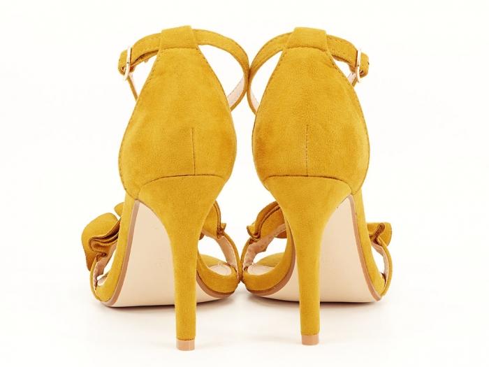 Sandale elegante galbene cu toc subtire FLowers 3