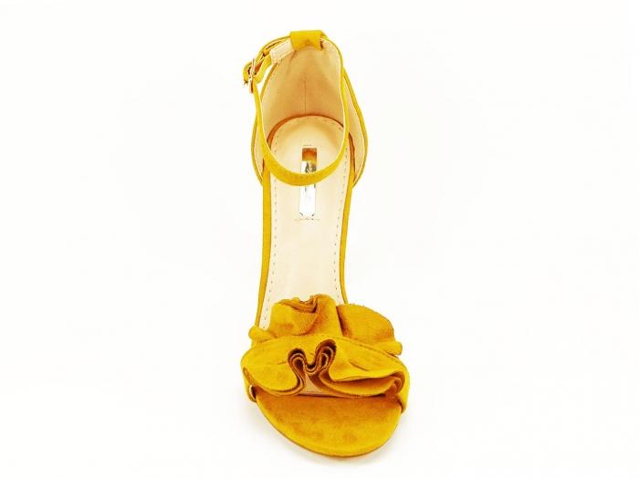 Sandale elegante galbene cu toc subtire FLowers 2