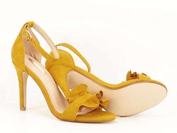 Sandale elegante galbene cu toc subtire FLowers 4