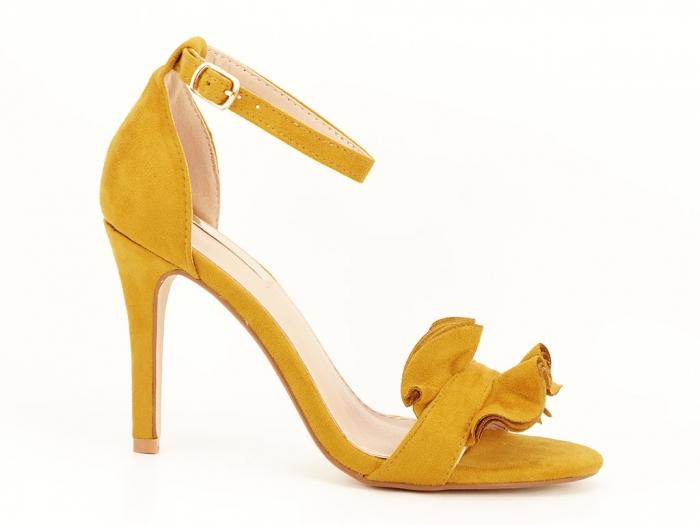 Sandale elegante galbene cu toc subtire FLowers 0