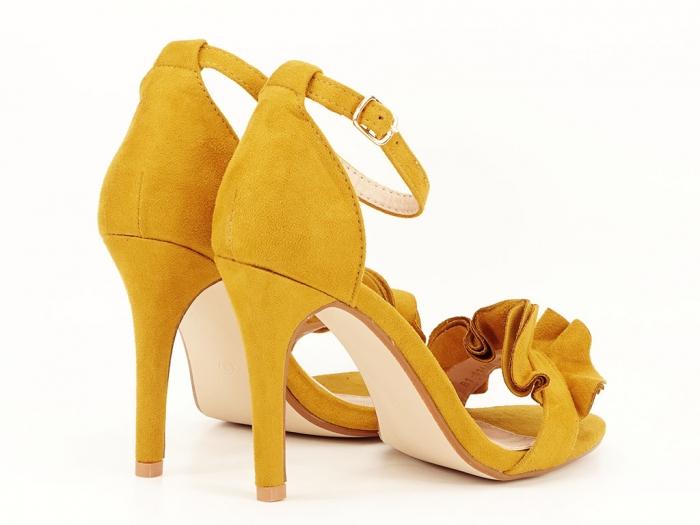 Sandale elegante galbene cu toc subtire FLowers 6