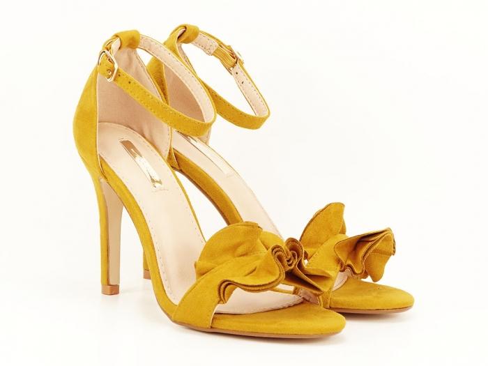 Sandale elegante galbene cu toc subtire FLowers 1