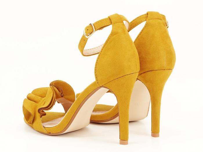 Sandale elegante galbene cu toc subtire FLowers 5