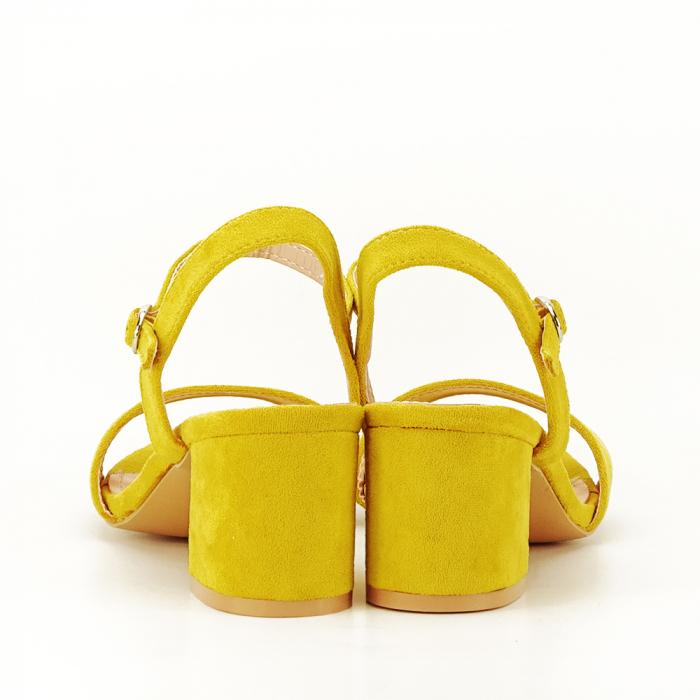 Sandale galben mustar cu toc mic Vanesa [5]