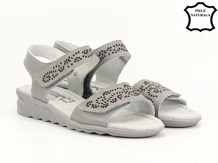 Sandale gri din piele naturala Freda 2