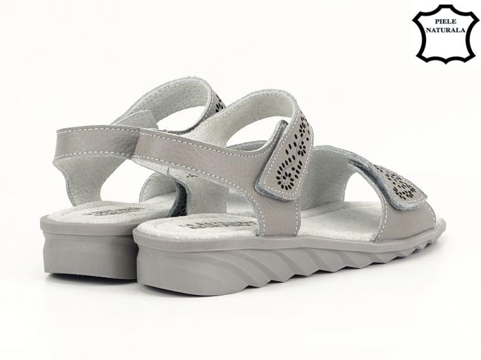 Sandale gri din piele naturala Freda 6