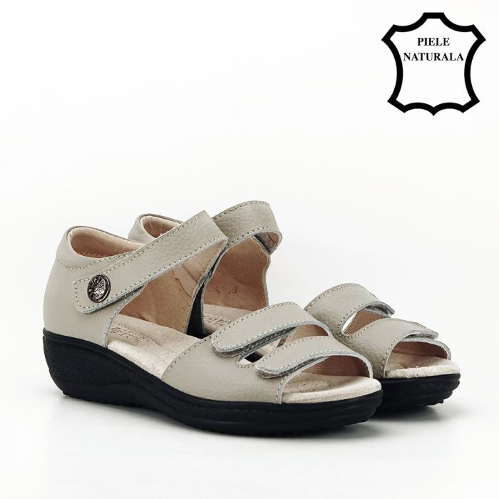 Sandale gri din piele naturala Agata 6