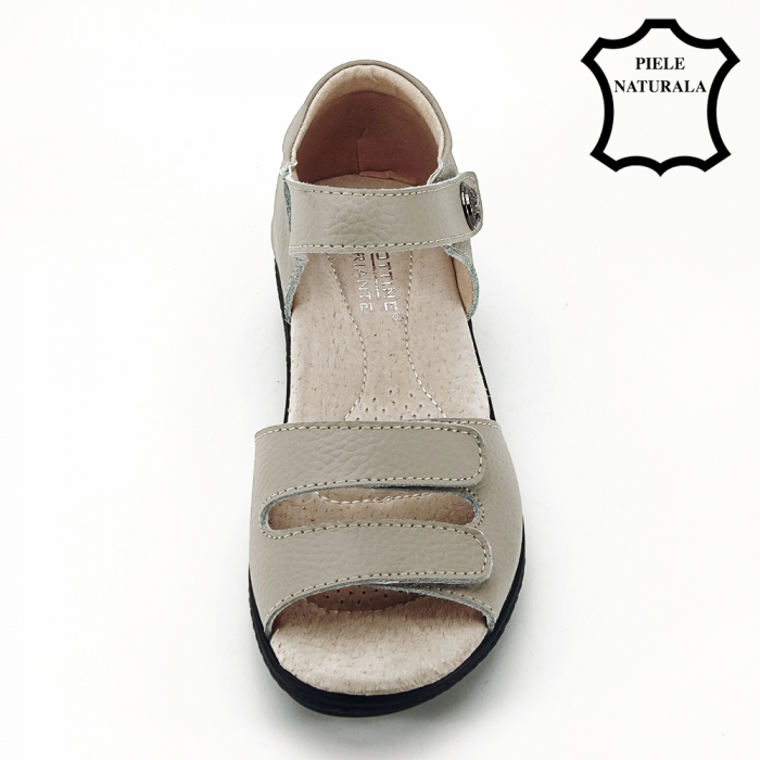 Sandale gri din piele naturala Agata 3