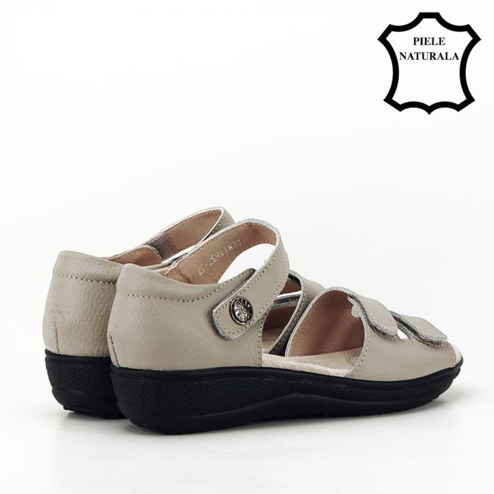 Sandale gri din piele naturala Agata 2